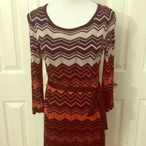 Chevron Print Sweater Dress, size M